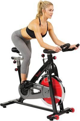 #1. Sunny Health & Fitness 49lbs Belt Drive Chromed Flywheel w/Leather Resistance Pad