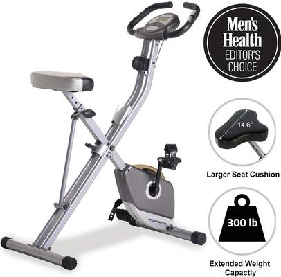 #10. Exerpeutic Large LCD Display Folding Magnetic Upright Exercise Bike w/Pulse