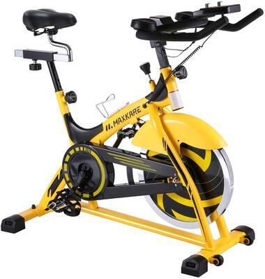 #5. MaxKare LCD Monitor Stationary Bike Belt 44lbs Drive Indoor Cycling Bike w/Flywheel
