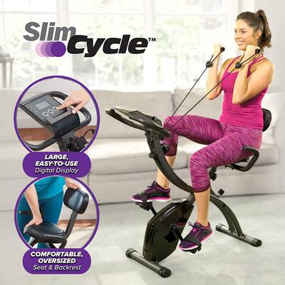 #8. BulbHead 2-in-1 Folding Indoor Exercise Bike w/Arm Resistance Bands & Heart Monitor