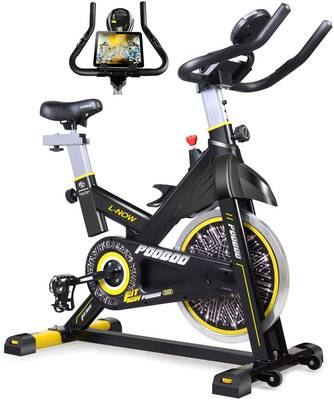 #2. Pooboo Belt Drive Indoor Exercise Bike LCD Display for Home Cardio Workout Bike