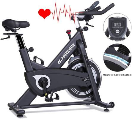 #4. MaxKare High Weight Capacity Adjustable Magnetic Exercise Bike with LCD Monitor