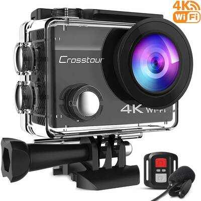 #6. Crosstour Upgraded CT8500 20MP Waterproof External Microphone Wi-Fi 4K Action Camera